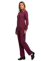 Wine - Cherokee iFlex Zip Front Warm Up Jacket