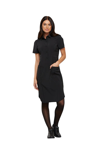 "Black - Cherokee Infinity 39"" Button Front Dress"
