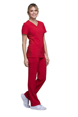 Red - Cherokee iFlex V-Neck Top
