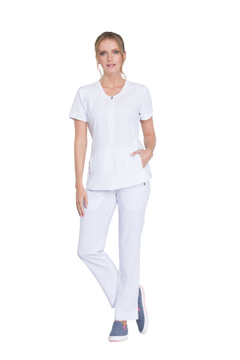 White - Cherokee Infinity Zip Front V-Neck Top