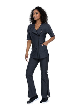 Pewter - Cherokee Form Asymmetrical Zip Front Tunic