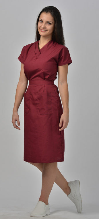 Burgundy - Avida V-Neck Dress