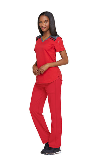 Red - Dickies Dynamix V-Neck Top