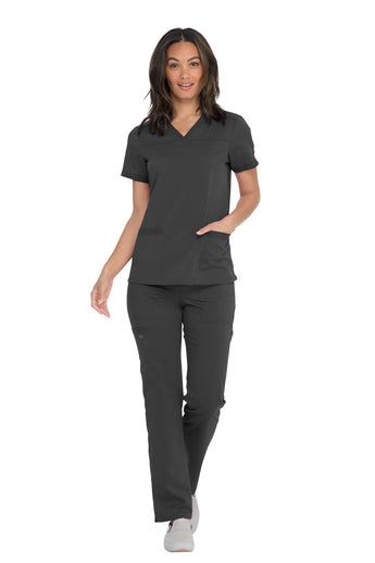 Pewter - Dickies Balance V-Neck Top With Rib Knit Panels