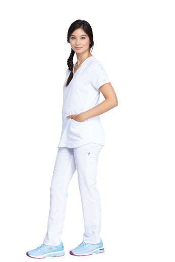 White - Dickies Balance V-Neck Top With Rib Knit Panels