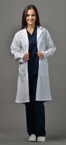 "White - Avida Lab Coats 42"" Unisex Lab Coat (No Pockets)"