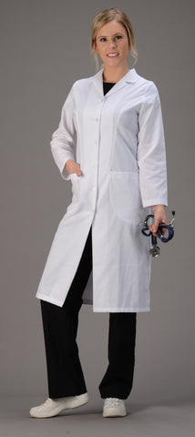 "White - Avida Lab Coats 42"" Fitted Women's Lab Coat"