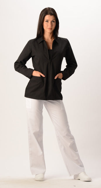 Black - Avida Lab Coats Zip Front Coat