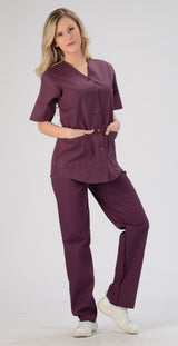 Burgundy - Avida Button Front Top