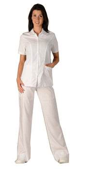 White - Avida Lab Coats Zip Front Jacket