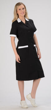 Black/White Trim - Avida Button Front Dress