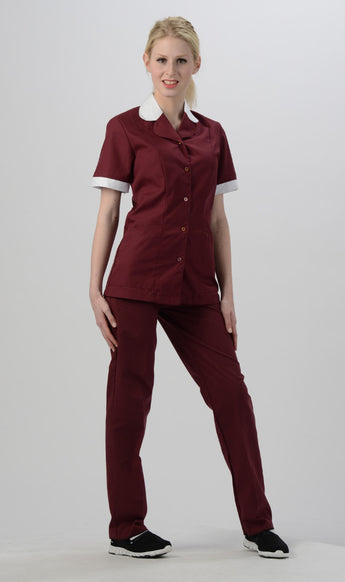 Burgundy/White Trim - Avida Button Front Top