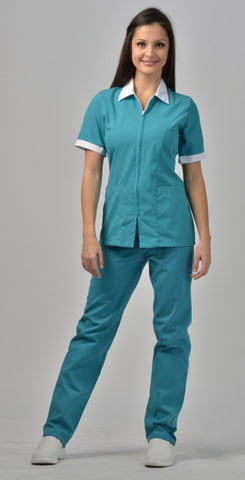Teal/White Trim - Avida Zip Front Top