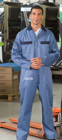 Navy/Postman Blue - Premium Uniforms Contrast Trim Coveralls
