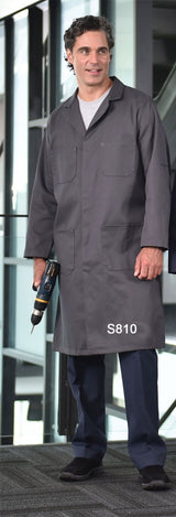 Charcoal - 4-Pocket Poly Cotton Shop Coat