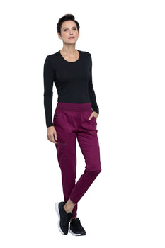Wine - Cherokee Workwear Revolution Natural Rise Tapered Leg Pull On Pant