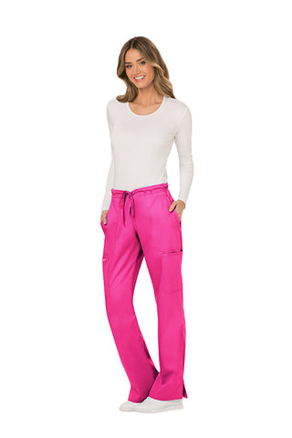 Electric Pink - Cherokee Workwear Revolution Mid Rise Drawstring Cargo Pant