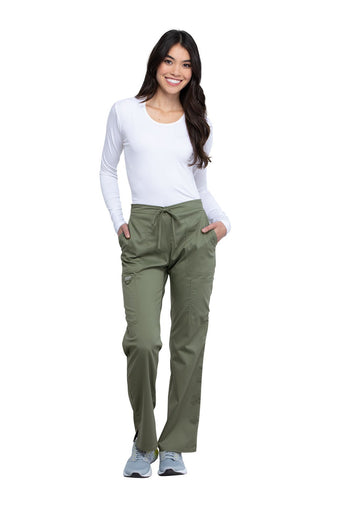 Olive - Cherokee Workwear Revolution Mid Rise Drawstring Cargo Pant