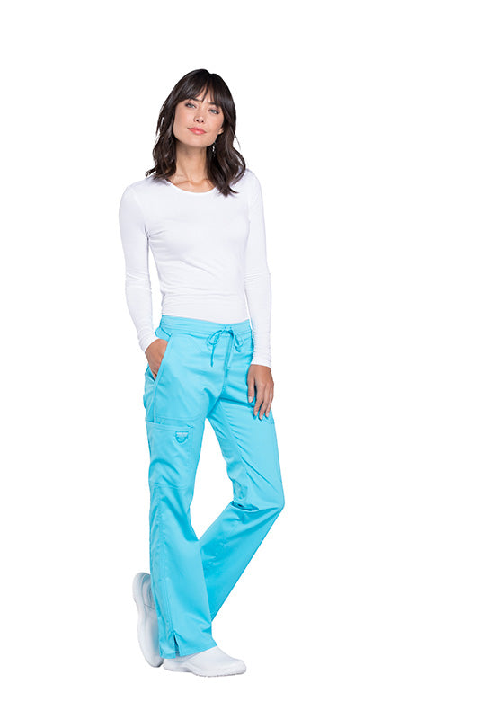 8a687400814 ... Turquoise - Cherokee Workwear Revolution Mid Rise Drawstring Cargo Pant  ...