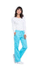 Turquoise - Cherokee Workwear Revolution Mid Rise Drawstring Cargo Pant
