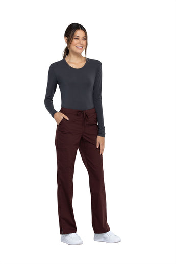 Espresso - Cherokee Workwear Professionals Mid Rise Drawstring Pant