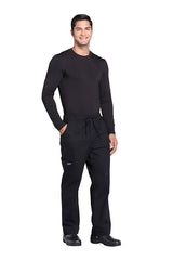 Black - Cherokee Workwear Professionals Men's Tapered Leg Drawstring Cargo Pant