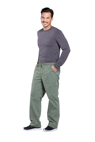 Olive - Cherokee Workwear Professionals Men's Tapered Leg Drawstring Cargo Pant