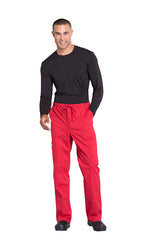 Red - Cherokee Workwear Professionals Men's Tapered Leg Drawstring Cargo Pant