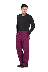 Wine - Cherokee Workwear Professionals Men's Tapered Leg Drawstring Cargo Pant