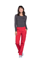 Red - Cherokee Workwear Originals Mid Rise Pull On Cargo Pant