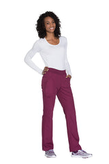 Wine - Cherokee Workwear Originals Mid Rise Pull On Cargo Pant