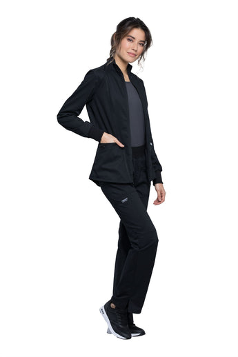 Black - Cherokee Workwear Revolution Zip Front High Low Jacket