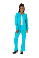 Turquoise - Cherokee Workwear Revolution Snap Front Warm Up Jacket