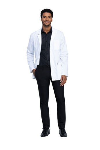 "White - Cherokee Workwear Revolution Tech 32"" Men's Antimicrobial Fluid Barrier Lab Coat"