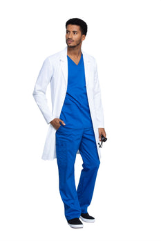 "White - Cherokee Workwear Revolution Tech 40"" Men's Antimicrobial Fluid Barrier Lab Coat"