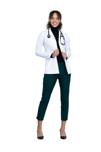 "White - Cherokee Workwear Revolution Tech 28"" Women's Antimicrobial Fluid Barrier Lab Coat"