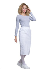 "White - Cherokee Workwear Professionals 30"" Knit Waistband Skirt"