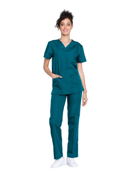 Caribbean Blue - Cherokee Workwear Originals Unisex Top and Pant Set
