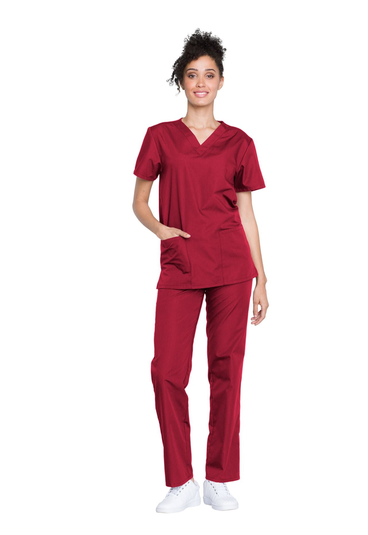 Red - Cherokee Workwear Originals Unisex Top and Pant Set