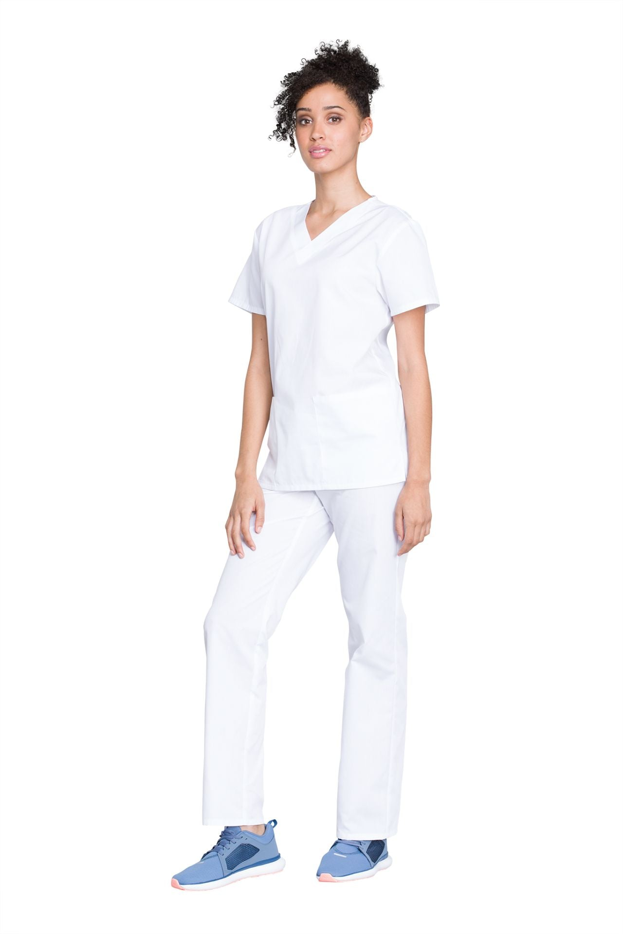 White - Cherokee Workwear Originals Unisex Top and Pant Set