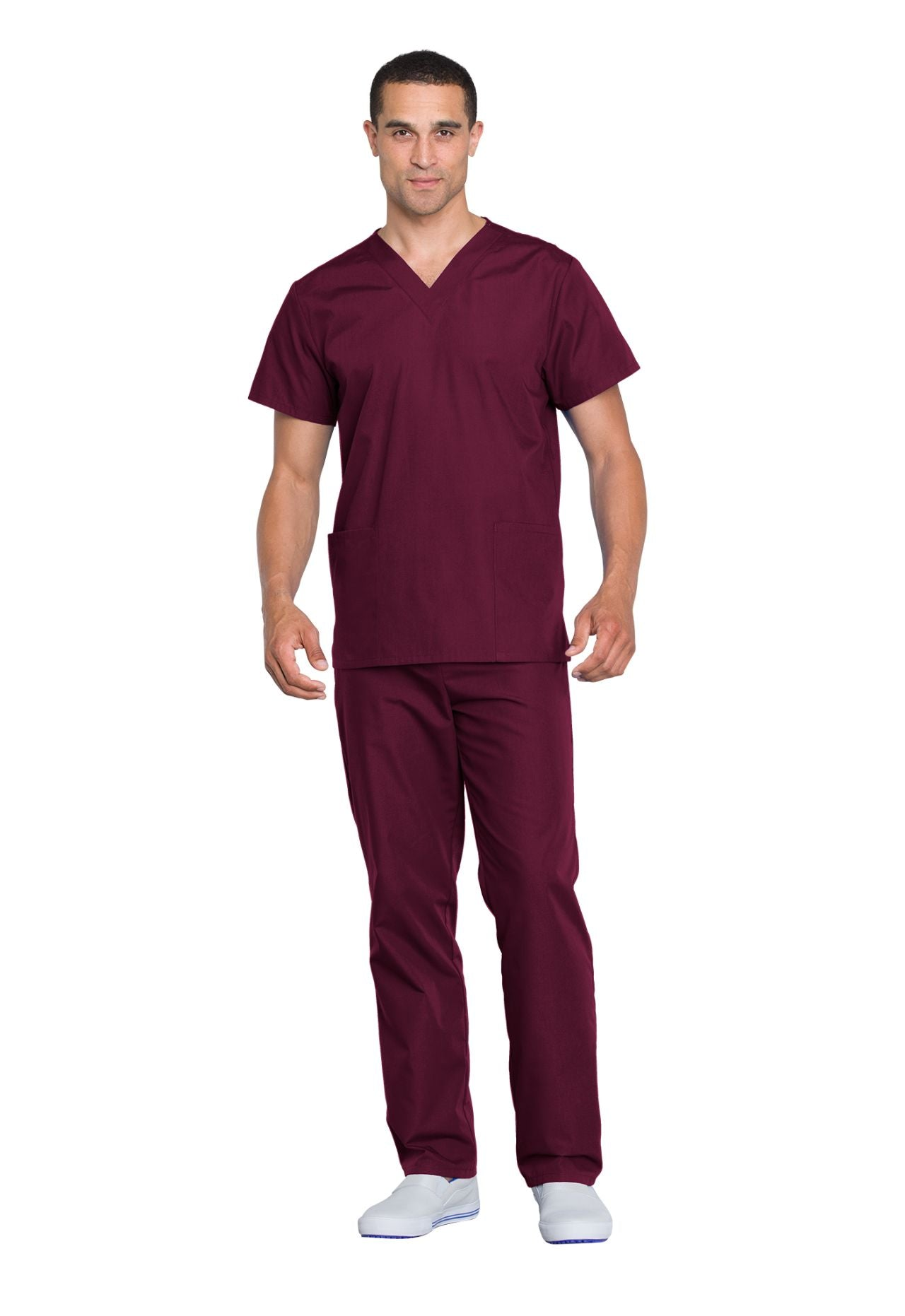 Wine - Cherokee Workwear Originals Unisex Top and Pant Set