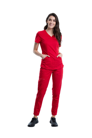 Red - Cherokee Workwear Revolution V-Neck To