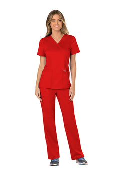 Red - Cherokee Workwear Revolution Mock Wrap Top