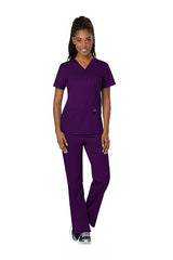 Eggplant - Cherokee Workwear Revolution V-Neck Top