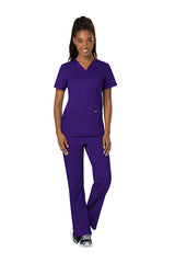 Grape - Cherokee Workwear Revolution V-Neck Top