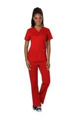 Red - Cherokee Workwear Revolution V-Neck Top