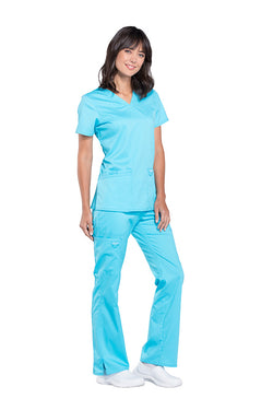Turquoise - Cherokee Workwear Revolution V-Neck Top