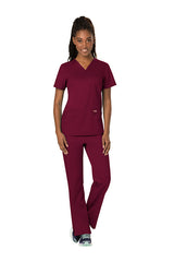 Wine - Cherokee Workwear Revolution V-Neck Top
