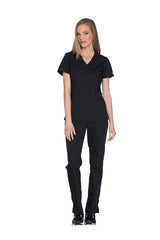 Black - Cherokee Workwear Originals Mock Wrap Top