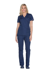 Navy - Cherokee Workwear Originals Mock Wrap Top